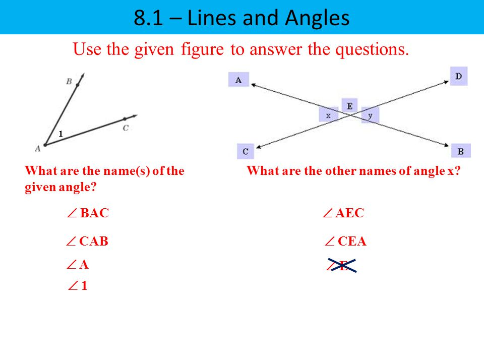 8.1 – Lines and Angles Use the given figure to answer the questions.  BAC  CAB  A  AEC  CEA  E What are the name(s) of the given angle?  1 1 Wh