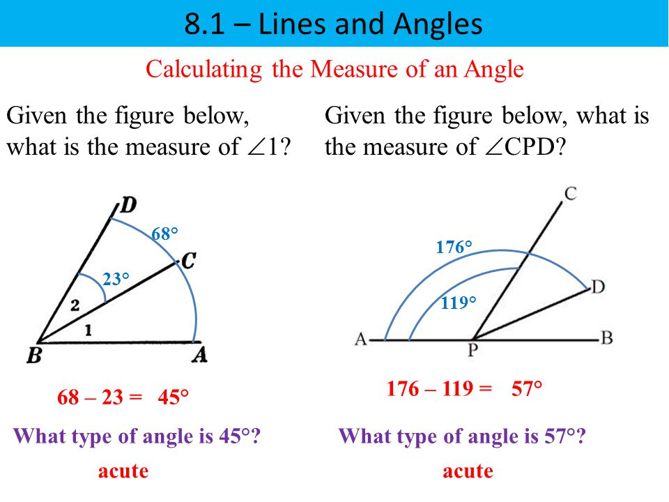 8.1 – Lines and Angles Calculating the Measure of an Angle What type of angle is 57°? Given the figure below, what is the measure of  1? acute 68 – 2