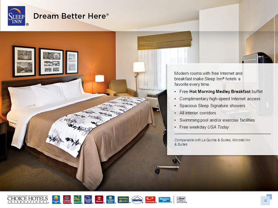 12 Modern rooms with free Internet and breakfast make Sleep Inn ® hotels a favorite every time. Free Hot Morning Medley Breakfast buffet Complimentary