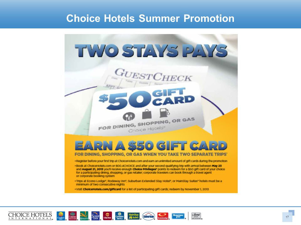 Choice Hotels Summer Promotion 17