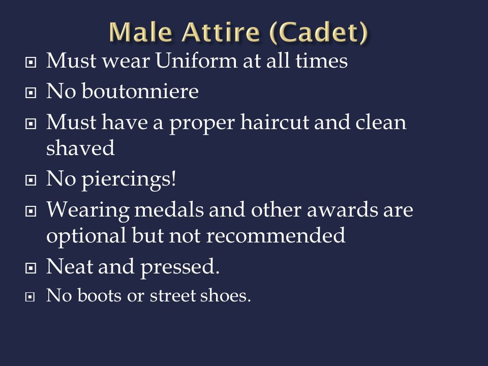 REMEMBER!!! THIS IS NOT PROM, Rules and regulations are set and you as a cadet or guest WILL follow all rules given. This is a formal MILITARY BALL no