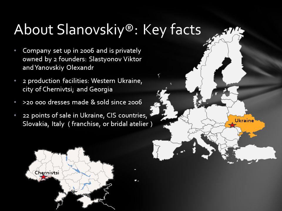 About Slanovskiy®: Key facts Chernivtsi Ukraine Company set up in 2006 and is privately owned by 2 founders: Slastyonov Viktor and Yanovskiy Olexandr