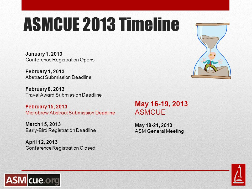 ASMCUE 2013 Timeline January 1, 2013 Conference Registration Opens February 1, 2013 Abstract Submission Deadline February 8, 2013 Travel Award Submission Deadline February 15, 2013 Microbrew Abstract Submission Deadline March 15, 2013 Early-Bird Registration Deadline April 12, 2013 Conference Registration Closed May 16-19, 2013 ASMCUE May 18-21, 2013 ASM General Meeting
