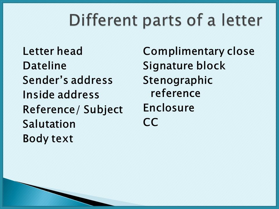 Letter head Dateline Sender's address Inside address Reference/ Subject Salutation Body text Complimentary close Signature block Stenographic reference Enclosure CC