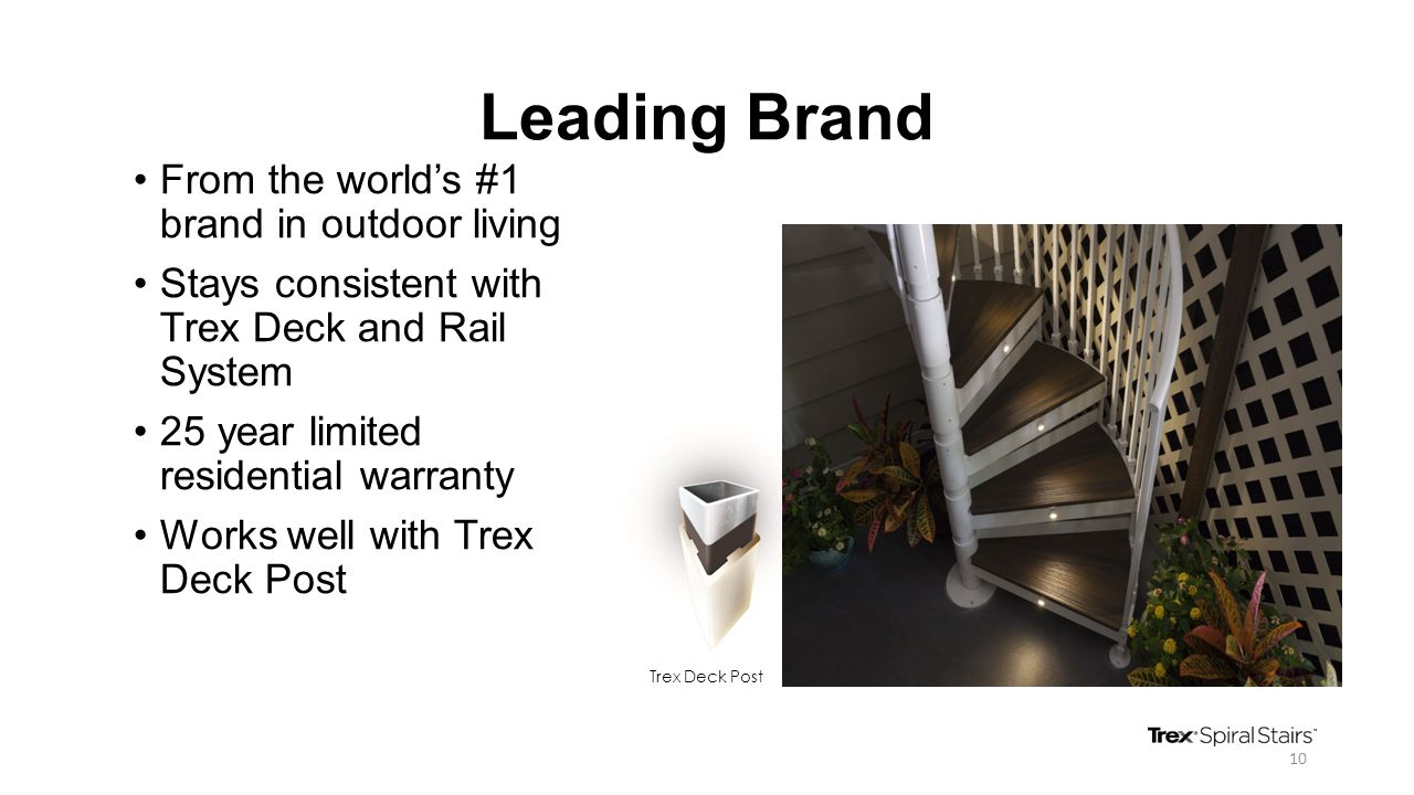 Leading Brand From the world's #1 brand in outdoor living Stays consistent with Trex Deck and Rail System 25 year limited residential warranty Works w