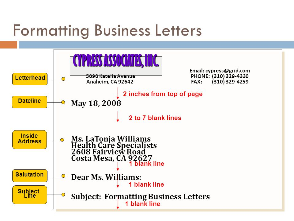 Formatting Business Letters Email: cypress@grid.com 5090 Katella Avenue PHONE: (310) 329-4330 Anaheim, CA 92642 FAX: (310) 329-4259 May 18, 2008 Ms. L