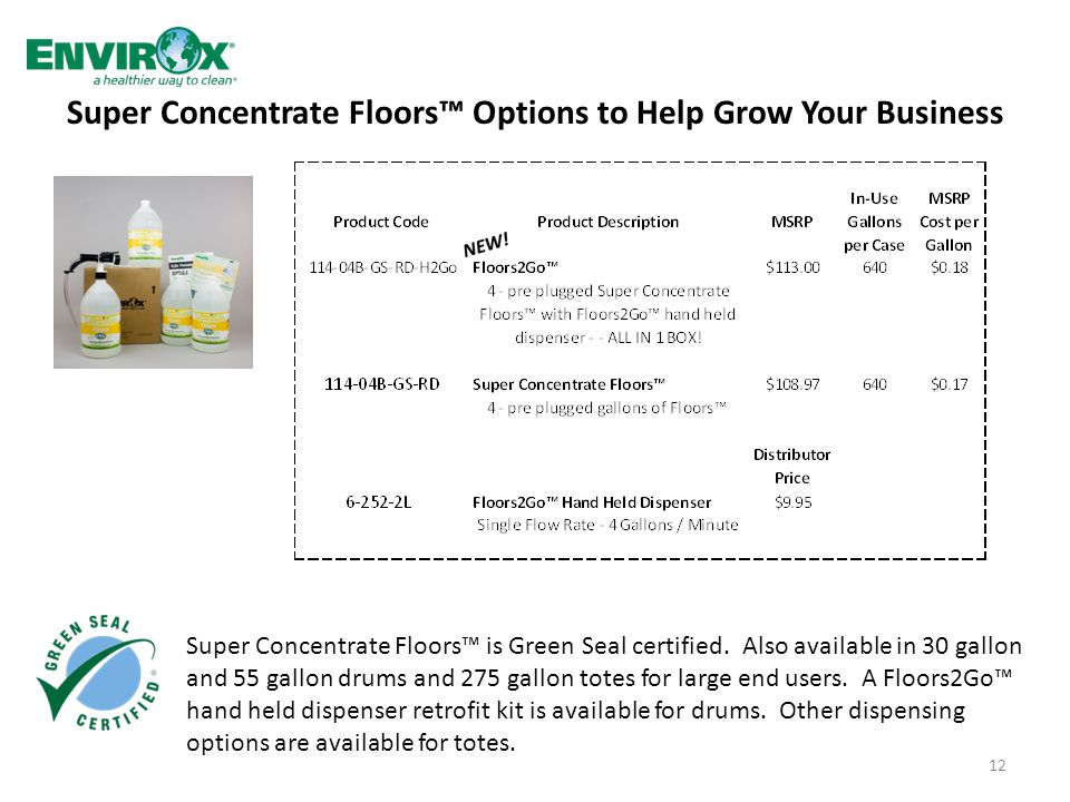 Super Concentrate Floors™ Options to Help Grow Your Business 12 Super Concentrate Floors™ is Green Seal certified.