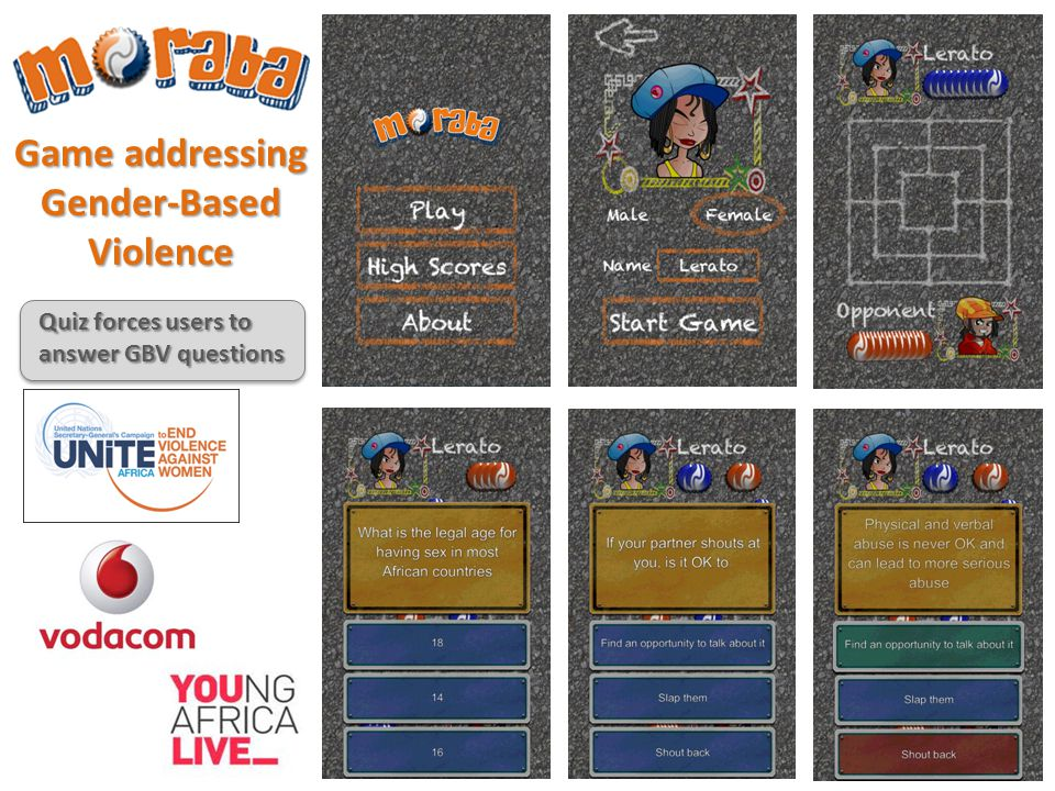 Game addressing Gender-BasedViolence Quiz forces users to answer GBV questions