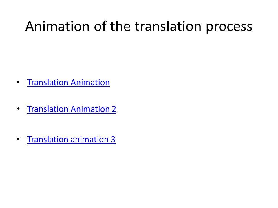 Animation of the translation process Translation Animation Translation Animation 2 Translation animation 3