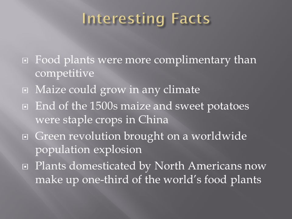  Food plants were more complimentary than competitive  Maize could grow in any climate  End of the 1500s maize and sweet potatoes were staple crops