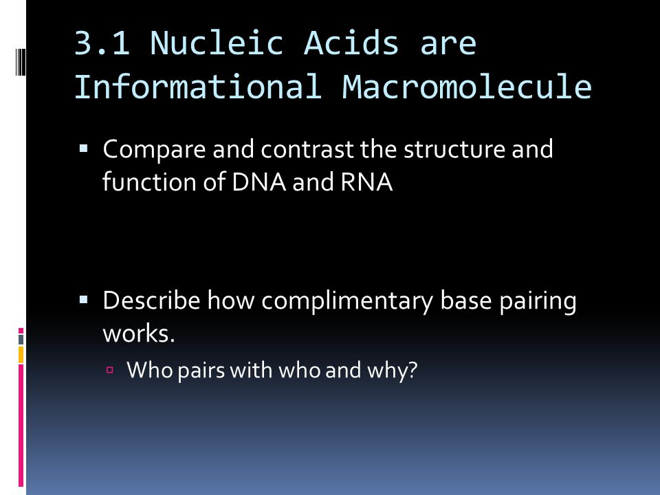 3.1 Nucleic Acids are Informational Macromolecule  Compare and contrast the structure and function of DNA and RNA  Describe how complimentary base pairing works.