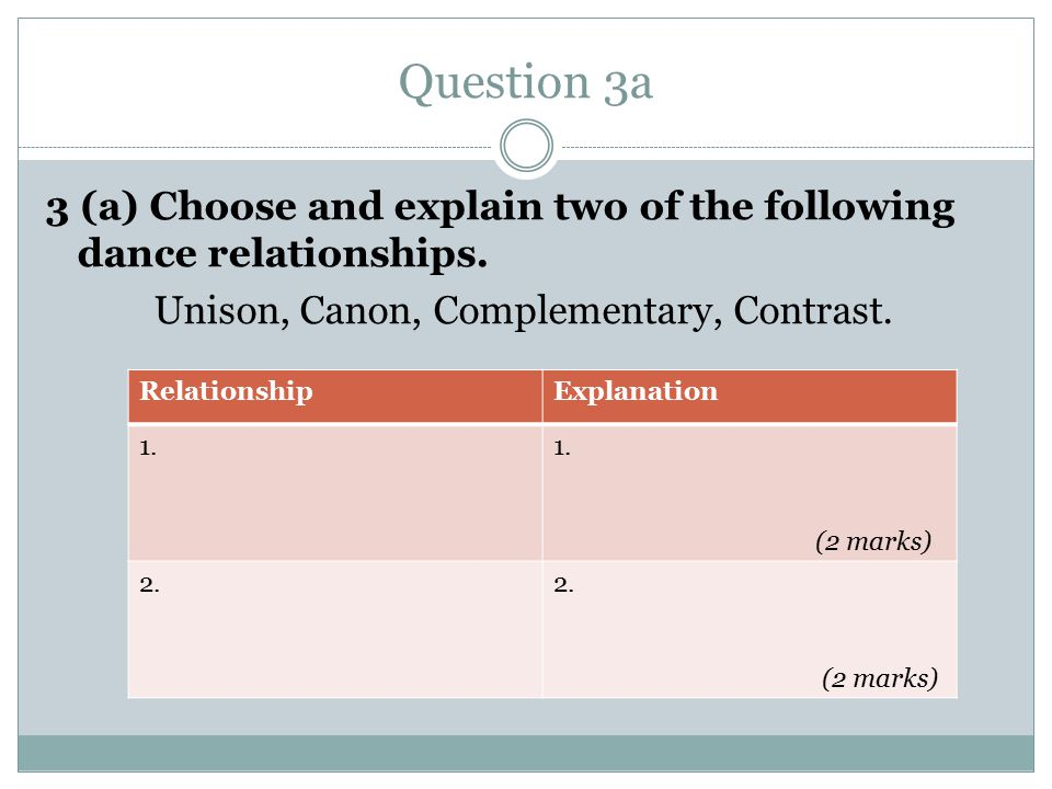 Question 3a 3 (a) Choose and explain two of the following dance relationships.
