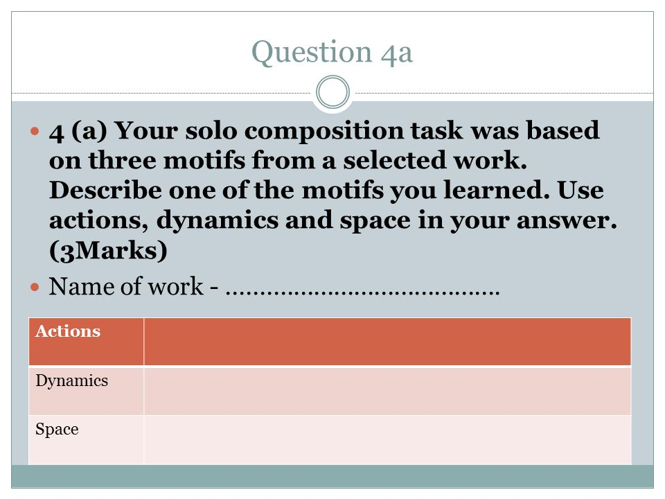 Question 4a 4 (a) Your solo composition task was based on three motifs from a selected work.