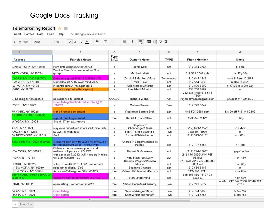 Google Docs Tracking