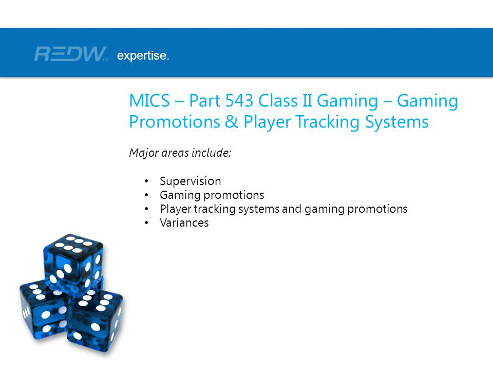 MICS – Part 543 Class II Gaming – Gaming Promotions & Player Tracking Systems Major areas include: Supervision Gaming promotions Player tracking systems and gaming promotions Variances expertise.