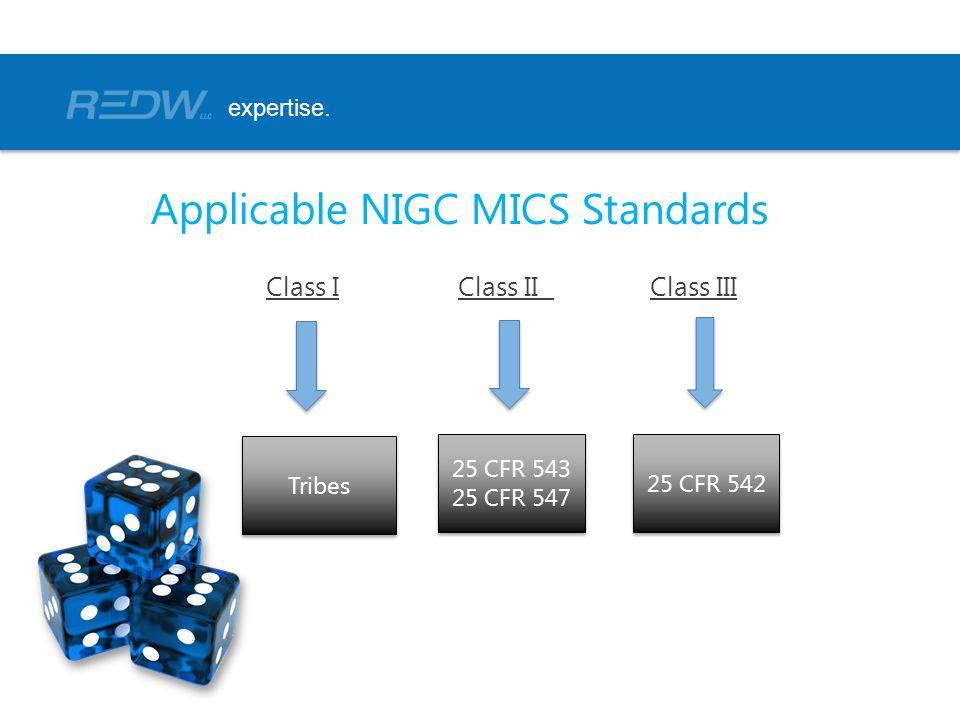 Class IClass IIClass III expertise. Applicable NIGC MICS Standards Tribes 25 CFR 542 25 CFR 543 25 CFR 547 25 CFR 543 25 CFR 547