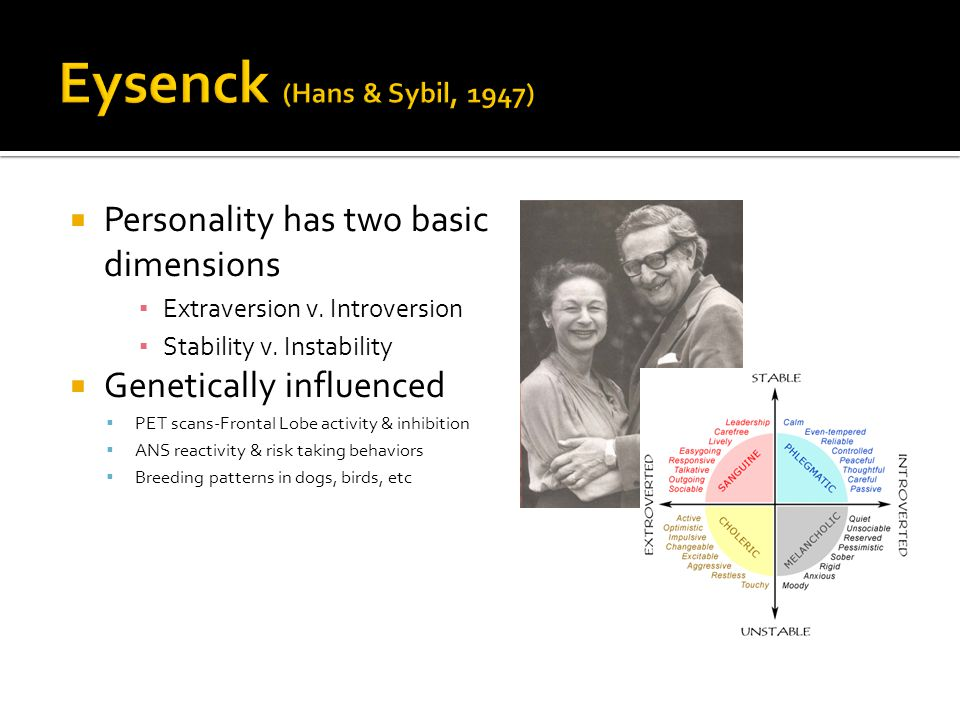  Personality has two basic dimensions ▪ Extraversion v.