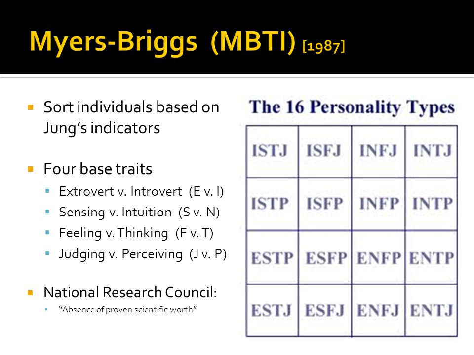  Sort individuals based on Jung's indicators  Four base traits  Extrovert v.