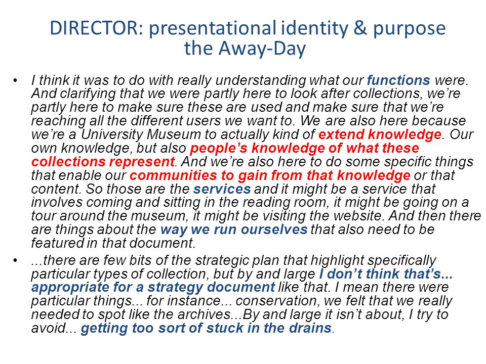 DIRECTOR: presentational identity & purpose the Away-Day I think it was to do with really understanding what our functions were.