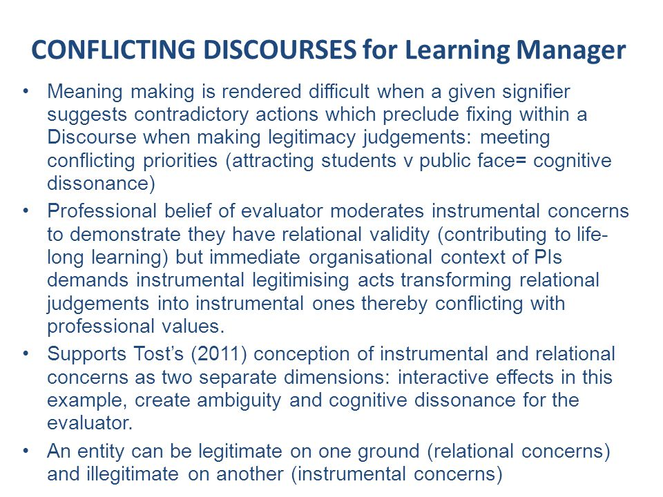 CONFLICTING DISCOURSES for Learning Manager Meaning making is rendered difficult when a given signifier suggests contradictory actions which preclude fixing within a Discourse when making legitimacy judgements: meeting conflicting priorities (attracting students v public face= cognitive dissonance) Professional belief of evaluator moderates instrumental concerns to demonstrate they have relational validity (contributing to life- long learning) but immediate organisational context of PIs demands instrumental legitimising acts transforming relational judgements into instrumental ones thereby conflicting with professional values.