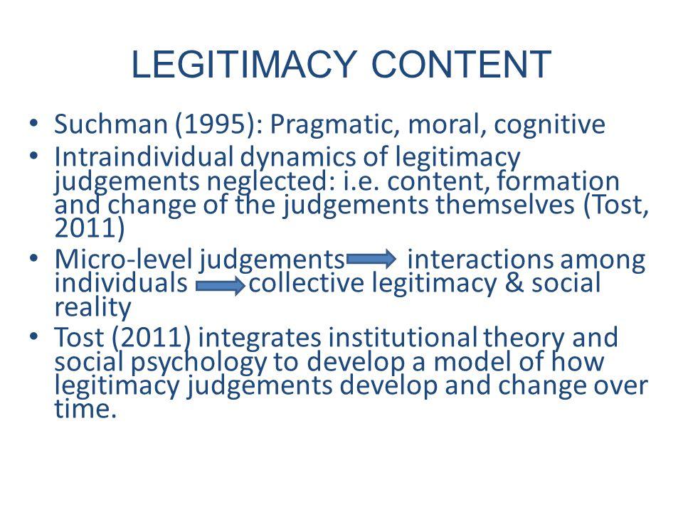 LEGITIMACY CONTENT Suchman (1995): Pragmatic, moral, cognitive Intraindividual dynamics of legitimacy judgements neglected: i.e.