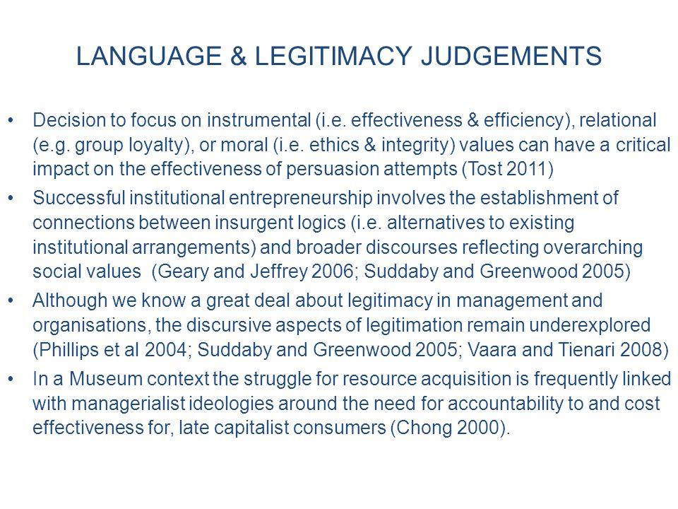 LANGUAGE & LEGITIMACY JUDGEMENTS Decision to focus on instrumental (i.e.