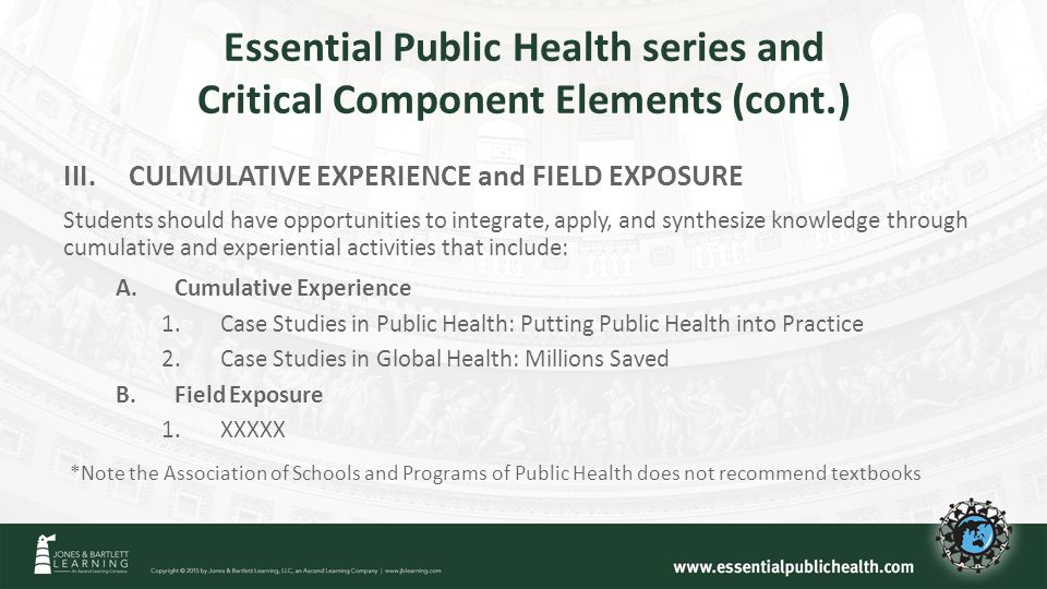 Essential Public Health series and Critical Component Elements (cont.) III.CULMULATIVE EXPERIENCE and FIELD EXPOSURE Students should have opportunities to integrate, apply, and synthesize knowledge through cumulative and experiential activities that include: A.Cumulative Experience 1.Case Studies in Public Health: Putting Public Health into Practice 2.Case Studies in Global Health: Millions Saved B.Field Exposure 1.XXXXX *Note the Association of Schools and Programs of Public Health does not recommend textbooks