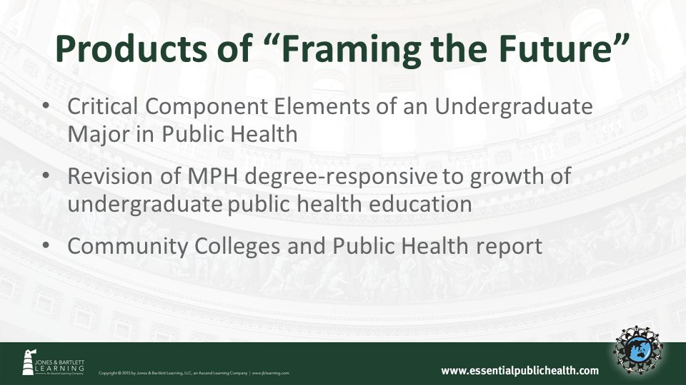 Products of Framing the Future Critical Component Elements of an Undergraduate Major in Public Health Revision of MPH degree-responsive to growth of undergraduate public health education Community Colleges and Public Health report