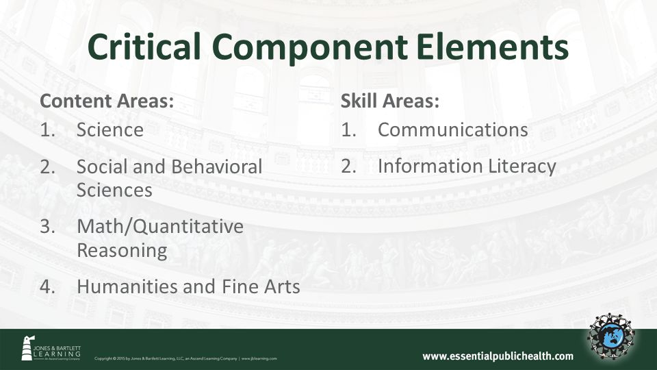 Critical Component Elements Content Areas: 1.Science 2.Social and Behavioral Sciences 3.Math/Quantitative Reasoning 4.Humanities and Fine Arts Skill Areas: 1.Communications 2.Information Literacy