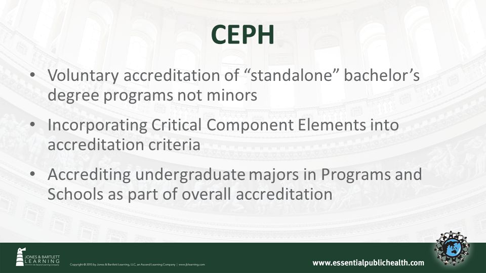 CEPH Voluntary accreditation of standalone bachelor's degree programs not minors Incorporating Critical Component Elements into accreditation criteria Accrediting undergraduate majors in Programs and Schools as part of overall accreditation