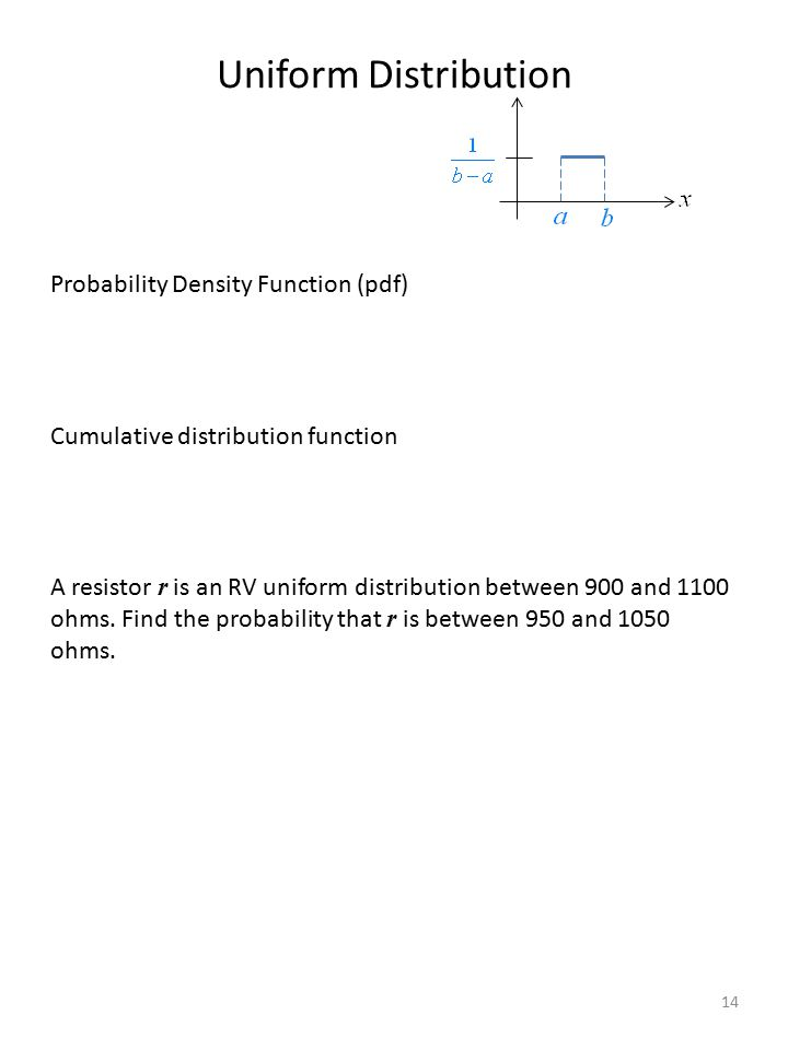 Uniform Distribution Probability Density Function (pdf) Cumulative distribution function A resistor r is an RV uniform distribution between 900 and 11