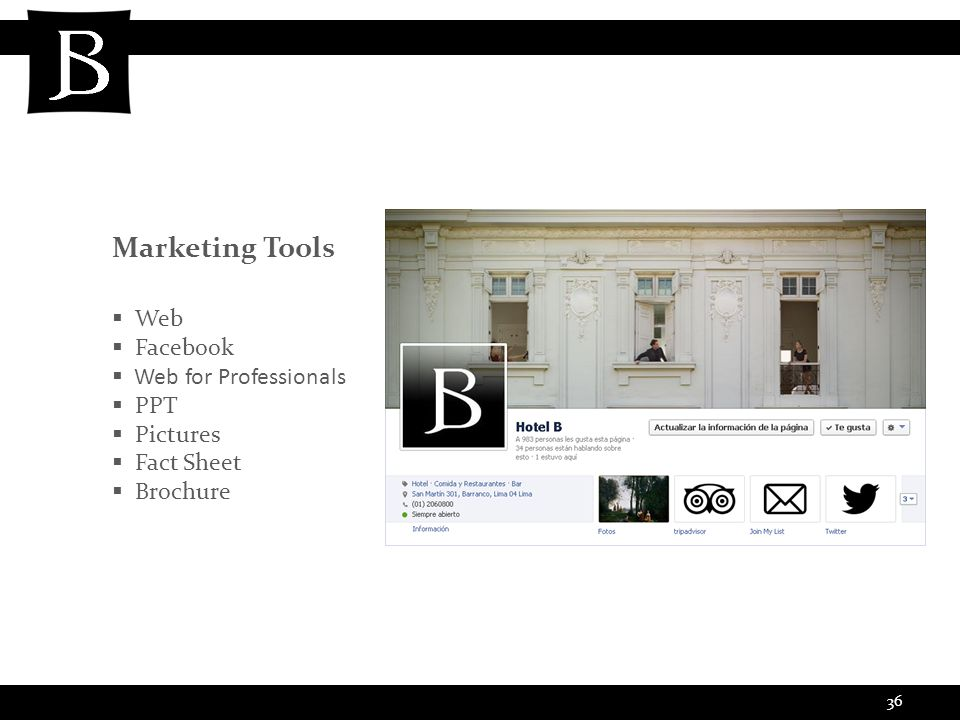 36 Marketing Tools  Web  Facebook  Web for Professionals  PPT  Pictures  Fact Sheet  Brochure
