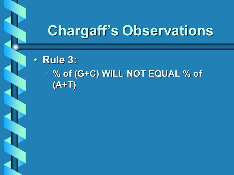 Chargaff's Observations Rule 3:Rule 3: % of (G+C) WILL NOT EQUAL % of (A+T)% of (G+C) WILL NOT EQUAL % of (A+T)