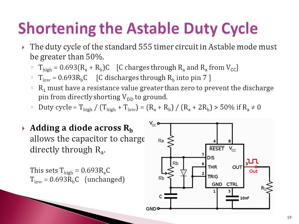 The duty cycle of the standard 555 timer circuit in Astable mode must be greater than 50%.