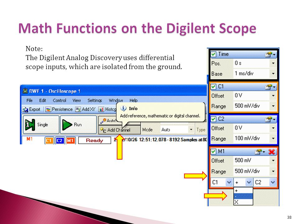 38 Note: The Digilent Analog Discovery uses differential scope inputs, which are isolated from the ground.