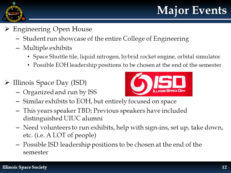 Illinois Space Society12 Major Events  Engineering Open House – Student run showcase of the entire College of Engineering – Multiple exhibits Space Shuttle tile, liquid nitrogen, hybrid rocket engine, orbital simulator Possible EOH leadership positions to be chosen at the end of the semester  Illinois Space Day (ISD) – Organized and run by ISS – Similar exhibits to EOH, but entirely focused on space – This years speaker TBD; Previous speakers have included distinguished UIUC alumni – Need volunteers to run exhibits, help with sign-ins, set up, take down, etc.