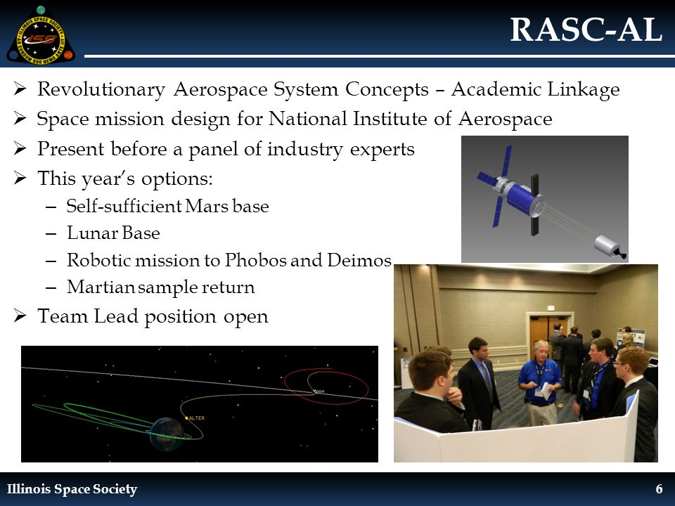 Illinois Space Society6 RASC-AL  Revolutionary Aerospace System Concepts – Academic Linkage  Space mission design for National Institute of Aerospace  Present before a panel of industry experts  This year's options: – Self-sufficient Mars base – Lunar Base – Robotic mission to Phobos and Deimos – Martian sample return  Team Lead position open