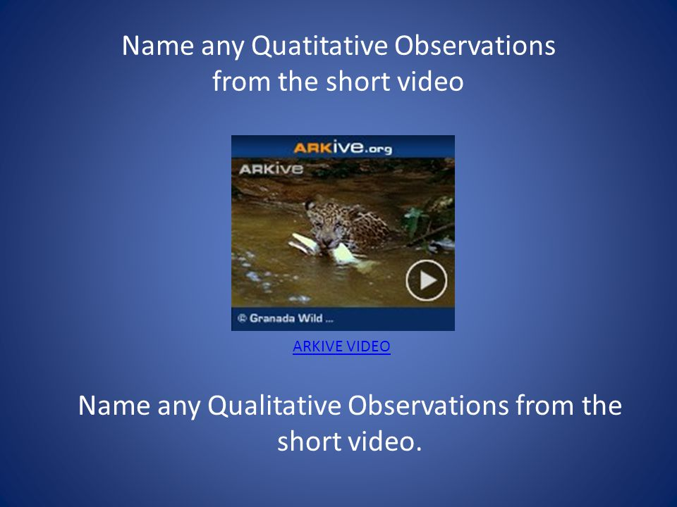 What does it mean to Observe? Quantitative Observation Deals with a number or amount. Example There are 30 students in this class. Qualitative Observa