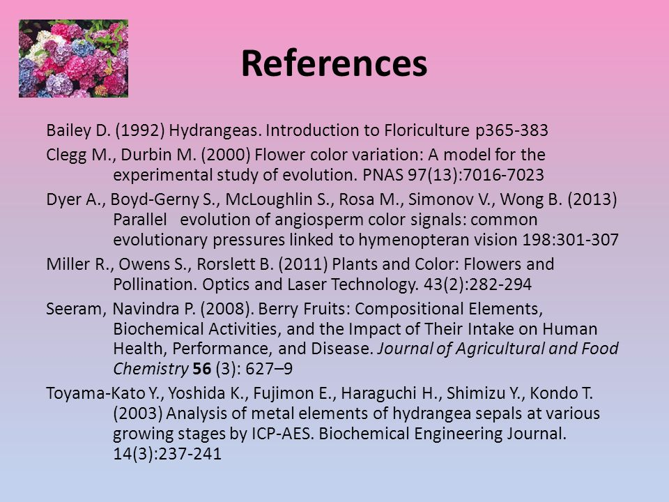 References Bailey D. (1992) Hydrangeas. Introduction to Floriculture p365-383 Clegg M., Durbin M.