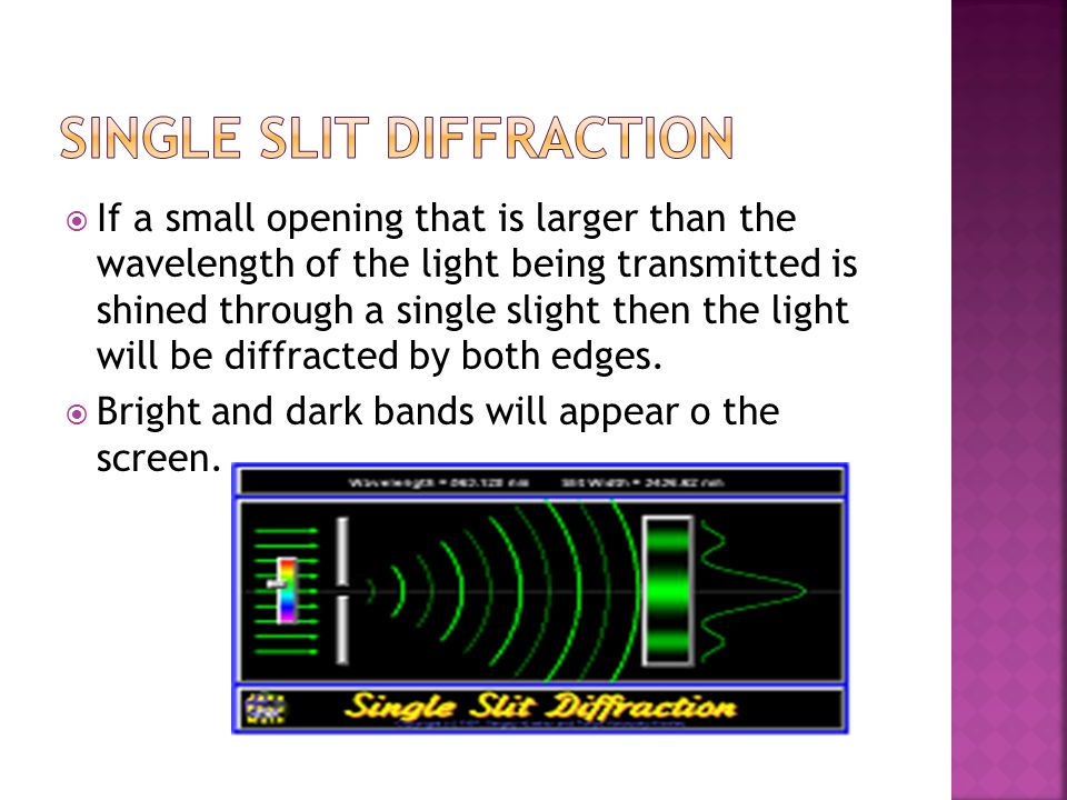 If a small opening that is larger than the wavelength of the light being transmitted is shined through a single slight then the light will be diffra