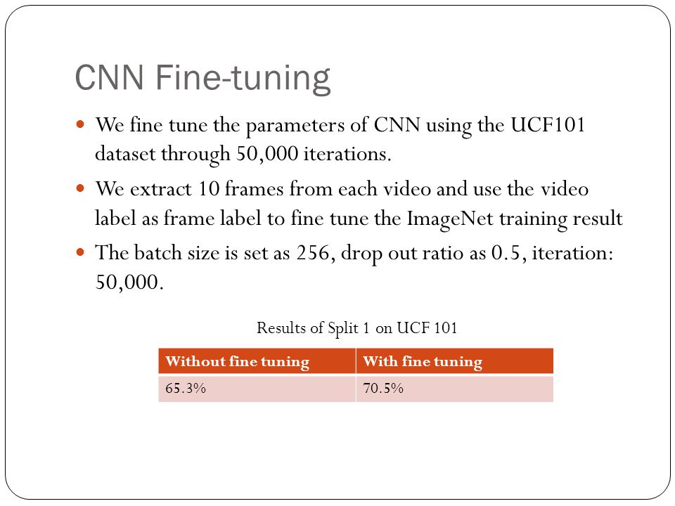 CNN Fine-tuning We fine tune the parameters of CNN using the UCF101 dataset through 50,000 iterations. We extract 10 frames from each video and use th