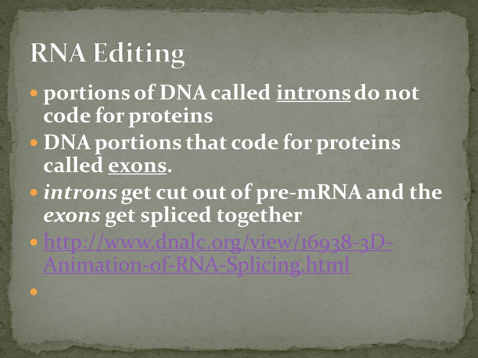 portions of DNA called introns do not code for proteins DNA portions that code for proteins called exons.