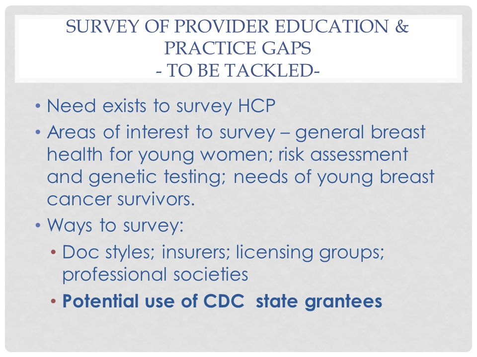 SURVEY OF PROVIDER EDUCATION & PRACTICE GAPS - TO BE TACKLED- Need exists to survey HCP Areas of interest to survey – general breast health for young women; risk assessment and genetic testing; needs of young breast cancer survivors.