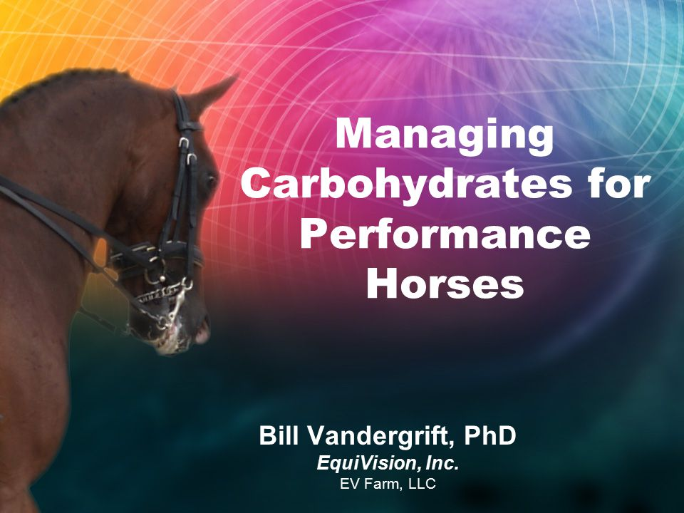 Managing Carbohydrates for Performance Horses Bill Vandergrift, PhD EquiVision, Inc. EV Farm, LLC