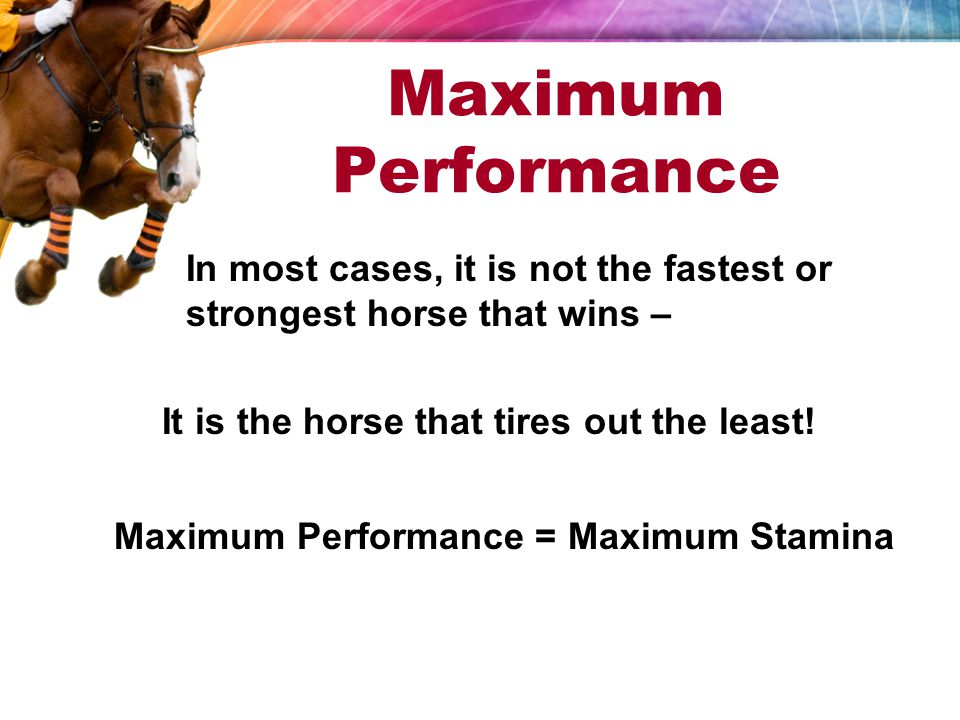 Maximum Performance In most cases, it is not the fastest or strongest horse that wins – It is the horse that tires out the least.