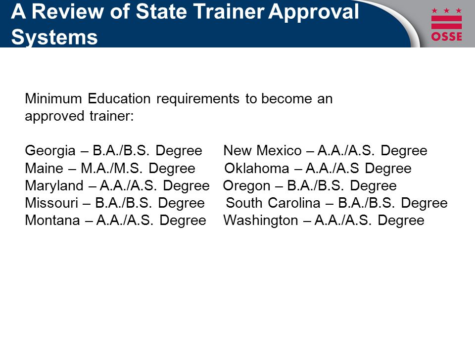 A Review of State Trainer Approval Systems Minimum Education requirements to become an approved trainer: Georgia – B.A./B.S.