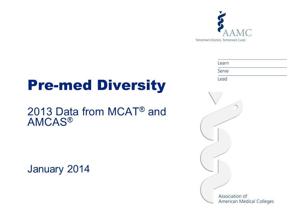 Pre-med Diversity 2013 Data from MCAT ® and AMCAS ® January 2014