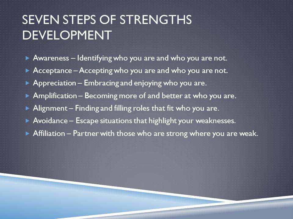 SEVEN STEPS OF STRENGTHS DEVELOPMENT  Awareness – Identifying who you are and who you are not.