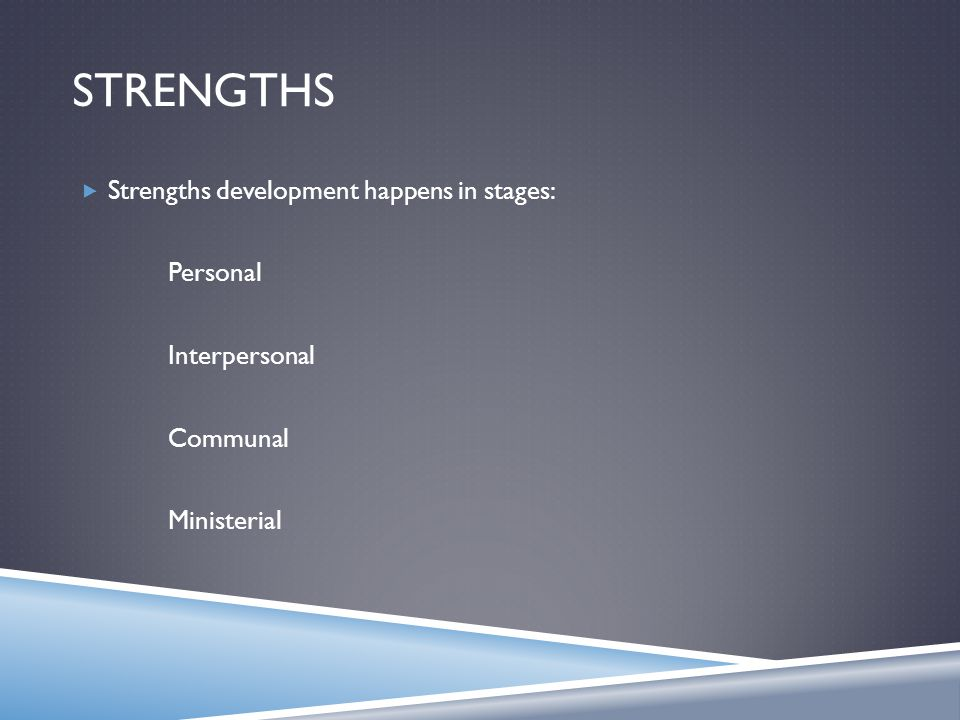 STRENGTHS  Strengths development happens in stages: Personal Interpersonal Communal Ministerial