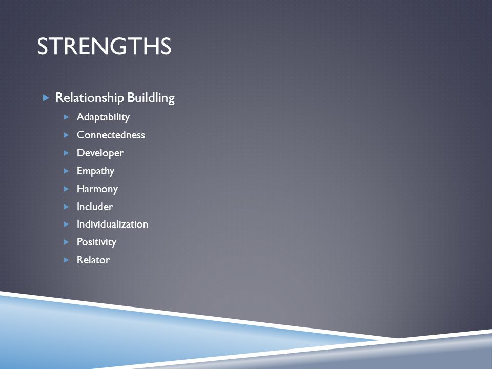 STRENGTHS  Relationship Buildling  Adaptability  Connectedness  Developer  Empathy  Harmony  Includer  Individualization  Positivity  Relator